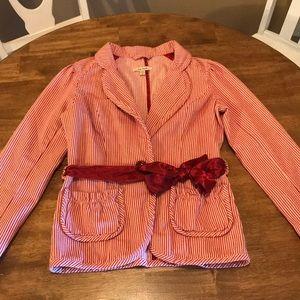 Free People Red Pink Striped Twill Blazer 10